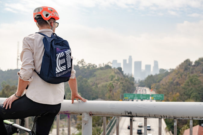 Taylor Phinney overlooking the freeway leading into downtown Los Angeles (Photo credit: Jordan Clark Haggard)