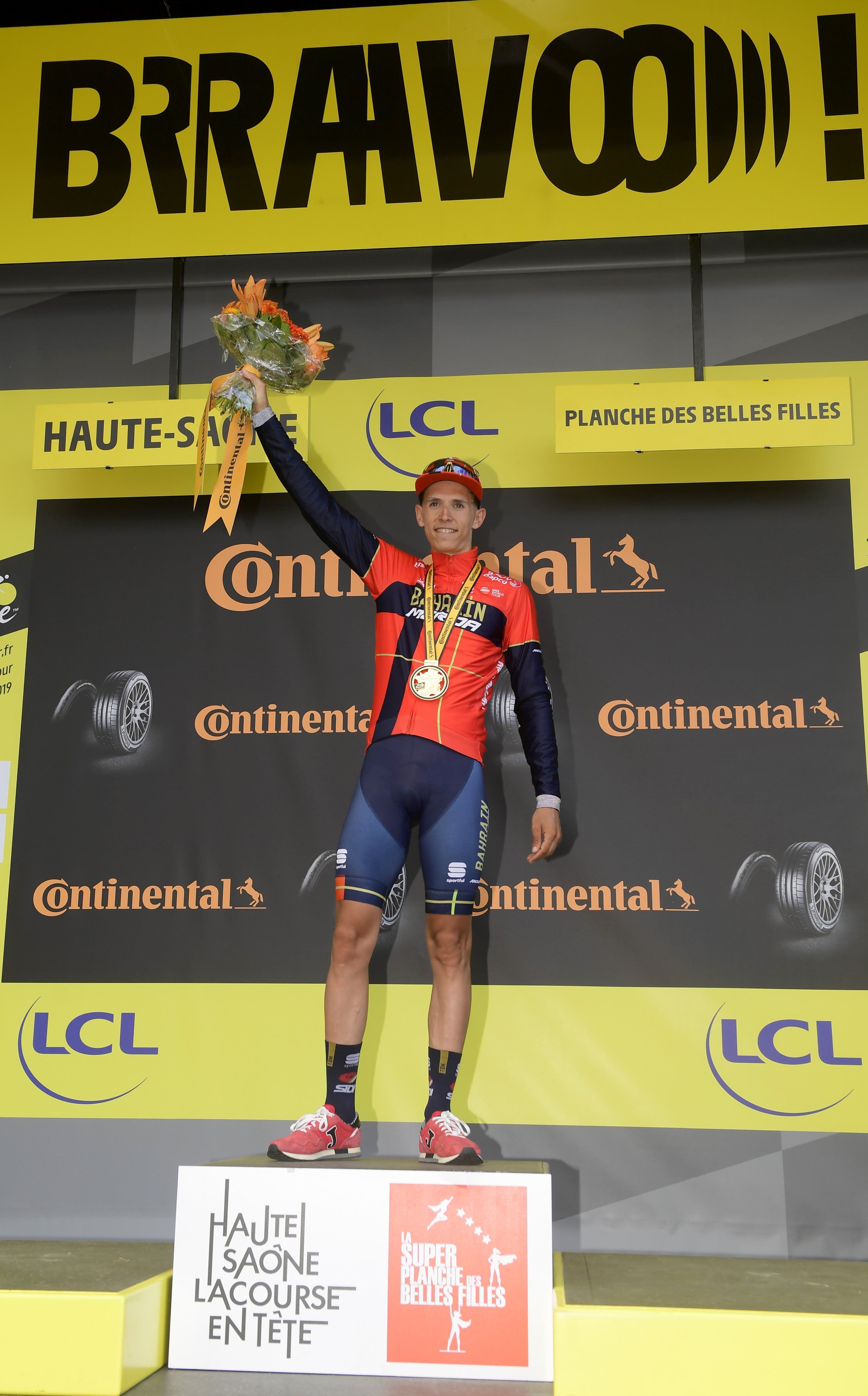Dylan Teuns on the podium (ph. Bettini)