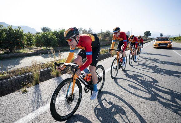 Team Bahrain McLaren riders in action