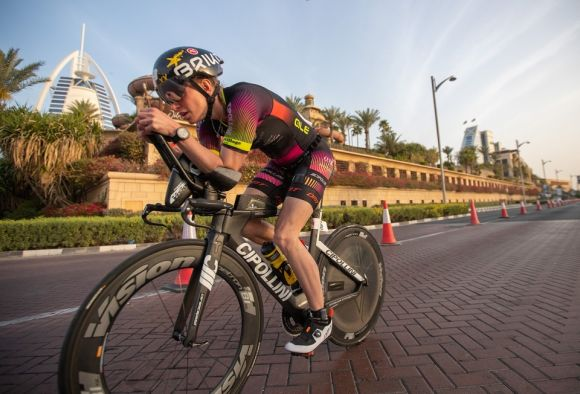 Vision pro sponsored triathlete Simon Mitchell in action.