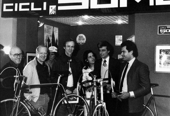 Somec staff during the Milan bicycle trade fair at late '70s.